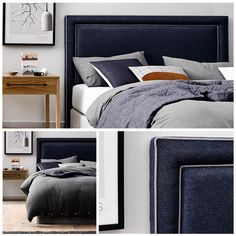 Add a regal touch to your bedroom with our dashing BAILEY Bedhead! I adore him in this Navy Felt with a grey piped frame but he is also quite lovely with a silver or brass studding too! www.heatherlydesign.com.au Blue Bedroom Decor, Bedroom Colors, Kids Bedroom, Master Bedroom, Bedroom Ideas, Bedhead Design, Blue Headboard, Bed Head, New Room