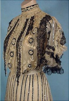 Evening gown by Gustave Beer, c. 1905, Antique Dress