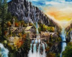 Related image Elven City, Create Canvas, Fall For You, Fantasy Illustration, Oil Painting On Canvas, Oil Paintings, Character Creation, Medieval Fantasy, The Elf