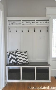 With no garage, mudroom, or back entry, Brit from House Updated needed to add storage in her entryway to corral all the stuff for her family of four. They wanted a bench for the kids to sit on and put