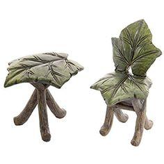 Darice Fairy Garden Furniture Mini Leaf Table & Chair Set, 2 Pieces
