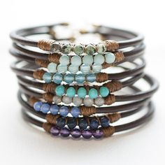 5 Perfect Gems Leather Bracelets-Ocean Colors