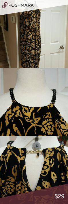 LAUREN RL GOLD AND BLACK DRESS!!! Mint condition!! Beaded straps!  No pulls or snags. Polyester blend. Lauren Ralph Lauren Dresses