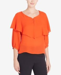 Catherine Catherine Malandrino Donna Ruffled-Overlay Top - Orange XL