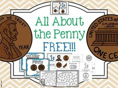 """Introduction to PENNY with posters, activities, worksheets, value, Abraham Lincoln, Lincoln Memorial, one cent, picture of """"heads"""" and """"tails"""" (including shield version).    This is a FREE SAMPLE of the penny to see included per coin in my total coin package."""