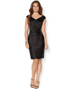 Lauren Ralph Lauren Sleeveless V-Neck Satin Sheath Dress// kind of like this v-neck better than the boat-neck i tried on in store