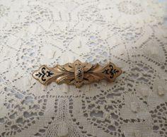 Antique Victorian Brooch Taille d' Epargne Rolled Gold Enameled by KansasKardsStudio on Etsy
