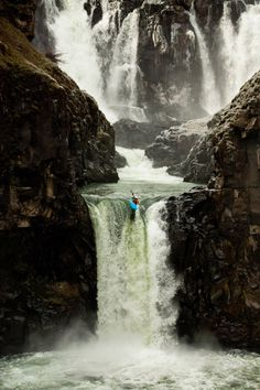 A kayaker places one of her last strokes off Celestial Falls, near Hood River, Oregon. (Photograph by Tyler Roemer)