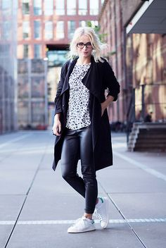 H\u0026M Black Trench Coat, H\u0026M Faux Leather Pants, H\u0026M Printend T Shirt, Adidas  � White Sneakers OutfitAdidas Stan Smith ...