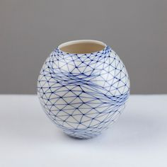 Moon Jar, Monochrome Color, Cozy Apartment, Japanese Ceramics, Mark Making, Contemporary Art, Triangle, Blue And White, Hand Painted