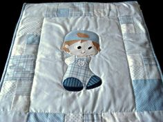 Patchwork Baby Blanket. Blue and White Patchwork by OhMySewings,