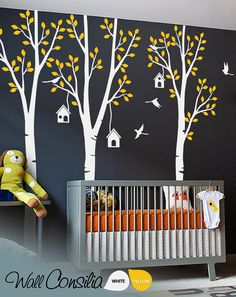 Baby Nursery Wall Decals - Birdhouse Trees Decal - Tree Wall Decal - Tree Wall Decals - Tree Wall Decal with Deer - Large: 96 x 93 - KC021 via Etsy