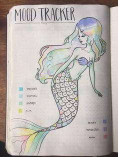 Mermaid Coloring Mood Tracker #mentalhealth #bulletjournaling #bujo