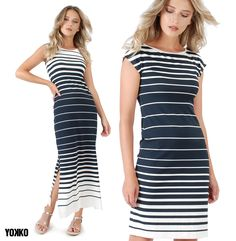 #navy #style #stripes #summer19 #summerdress #beachoutfit #summerstyle #madeinromania #romanianbrand #qualityfashion #buyonline Navy Style, Look Chic, Casual Looks, Casual Outfits, Bodycon Dress, Stripes, Costume, Summer Dresses, How To Make