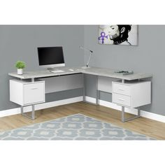 Monarch Specialties Left/Right Contemporary Office Computer Desk, Cappuccino : T. - Ikea DIY - The best IKEA hacks all in one place Home Office Desks, L Shaped Desk, Home Office Furniture, Home Office Design, Office Desk, Carbon Loft, L Shaped Corner Desk, Desk, Corner Computer Desk