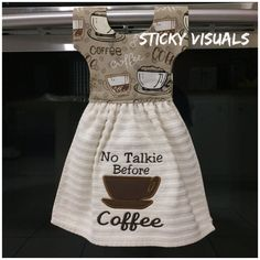 No Talkie Before Coffee Kitchen Oven Door Towel Cream or Tan Embroidered