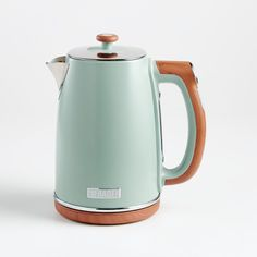 Haden Silt Green Dorchester Kettle + Reviews | Crate and Barrel Crate And Barrel, Maine, British Home, Pebble Grey, Grey Exterior, British Countryside, Unique Furniture, Drip Coffee Maker, Coffee Cup