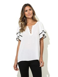 chiffon blouse 2016 summer tops women shirts Casual loose Blouses O-Neck Short sleeve shirt blusas plus size blusas feminina Top Chic, Casual Outfits, Fashion Outfits, Black Trim, Casual Tops, Blouse Designs, Blouses For Women, Ideias Fashion, Tunic Tops