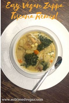 Vegan Zuppa Toscana soup remix with white beans and carrots!  I made this for my family and it was the solution to our cold evening!