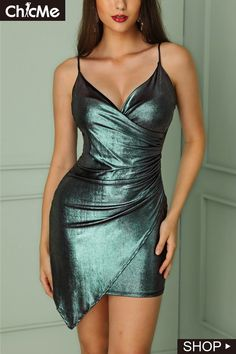 Shiny Ruched Wrapped Irregular Bodycon Dress Shop- Women's Best Online Shopping - Offering Huge Discounts on Dresses, Lingerie , Jumpsuits , Swimwear, Tops and More. Tight Dresses, Satin Dresses, Sexy Dresses, Cute Dresses, Fashion Dresses, Formal Dresses, Robe Bodycon, Bodycon Dress With Sleeves, Short Summer Dresses