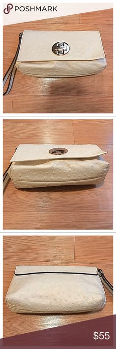 "{Kate Spade} Clutch, 9"" x 5"" {Kate Spade} Clutch, 9"" x 5"". Off white with gold details. Some light wear, marks as shown in pics, priced accordingly. kate spade Bags Clutches & Wristlets"