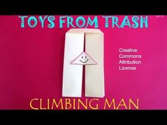 The toy is essentially made from a paper strip. The two separate channel strips are joined by a triangle above. Cut a small triangle from top and paint a hap...