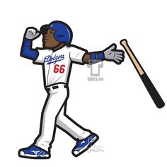 """Yasiel Puig Los Angeles Dodgers """"Bat Flip"""" Tyke.Yasiel is also the cover athlete for perhaps the best sports game on the market, MLB The Show 15.#YasielPuig #LADodgers #Dodgers #MLBTheShow #BaseballIsBetter #baseball #MLB #tyke #tykes #MyTyke www.tykes.co"""