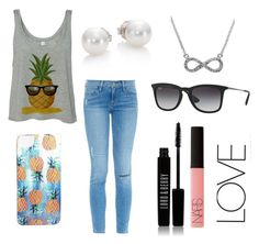 """""""Pineapple happiness"""" by lalalibster ❤ liked on Polyvore featuring Frame Denim, Nikki Strange, Lord & Berry, NARS Cosmetics, Mikimoto, Ray-Ban, Effy Jewelry, women's clothing, women and female"""