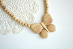 butterfly juniper wood necklace nature eco friendly by HansHolz, $15.50