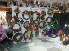 Wreaths with a Reason craft show display for wreaths