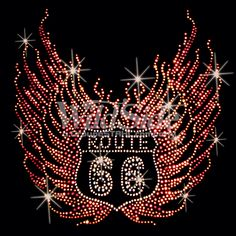 Route 66 Rhinestone IRON ON TRANSFER Hot Fix