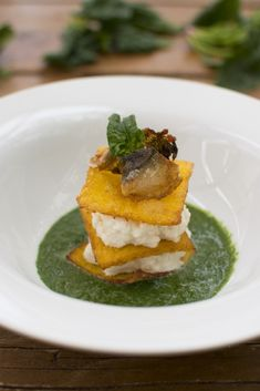 Italian Dishes, Italian Recipes, Tapas, Polenta Recipes, Modern Food, Mini Foods, Fish Dishes, Creative Food, Healthy Recipes