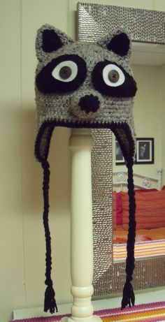 Raccoon hat, crochet hat, kids crochet