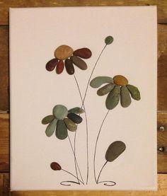 Black Eyed Susan-Flower / Kiesel Art Collage Leinwand Kunst /