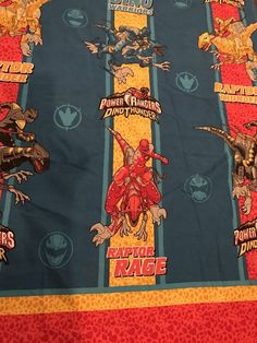 Vintage Power Rangers Dino Thunder Flat Sheet Twin Craft Fabric    eBay