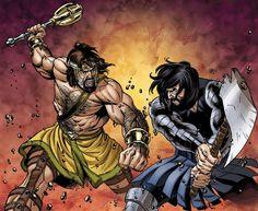 Hercules vs. Typhon by Rodney Buchemi