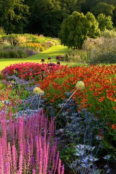 The main borders at RHS Harlow Carr Gardens, Yorkshire, England