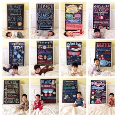 Baby monthly milestone pictures are great way to see how your baby grows up. It's great to look back on baby pictures and see how little they once were and share with family and friends. We found baby monthly milestone pictures to inspire you. One Month Chalkboard, Chalkboard Baby, Birthday Chalkboard, Monthly Baby Photos, Baby Monthly Milestones, One Month Old Baby, Baby Month By Month, Milestone Pictures, Baby Pictures