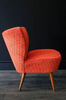Upcycled 1950s Bartolomew Cocktail Chair - Citrus Orange Underground Velvet @ rocket  St George