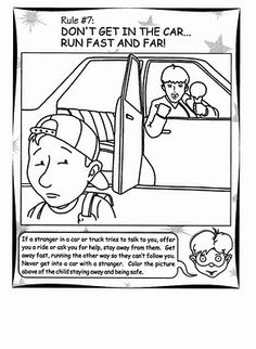 Stranger Danger coloring pages Teaching Safety, Teaching Kids, Kids Health, Children Health, Safety And First Aid, Classroom Charts, Stranger Danger, Personal Safety, Preschool Education
