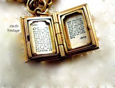 Vintage 14K Gold Lord's Prayer Book Jewelry Charm by OnToVintage