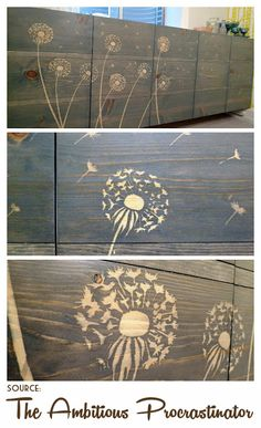 She used wood glue with her stencils to block the stain!! Ingenious!!! One of the 'why didn't I think of that' Nine Red:  Spotlight: Stenciling with Stains