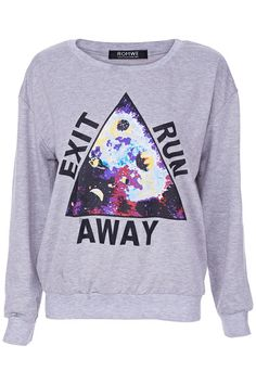 ROMWE | EXIT RUN AWAY Grey Sweatshirt, The Latest Street Fashion