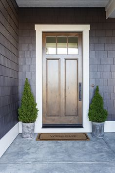 Front Door Stain Color: Stained Rustic Grey Entry Door: Masonite Fiberglass door with clear glass. Masonite Interior Doors, Black Interior Doors, Modern Industrial Decor, Grey Front Doors, Modern Farmhouse Interiors, Interior Paint Colors, Interior Design, Concrete Fireplace, Kitchen Cabinet Styles