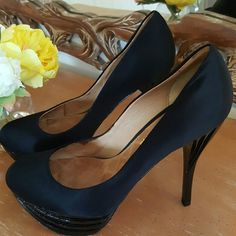 L. A. M. B  Heels BEAUTIFUL L. A. M. B   in black satin with 5 inch heels and platform. L.A.M.B. Shoes Heels