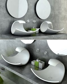 What A Wave - A bathroom sink inspired by a cresting wave / Designed by Joel Roberts Beautiful! I love how the water completes the curve. Just fabulous. Concrete Bathroom, Vessel Sink Bathroom, Master Bathroom Shower, Washroom, Washbasin Design, Room Door Design, Wave Design, Room Doors, Cool House Designs