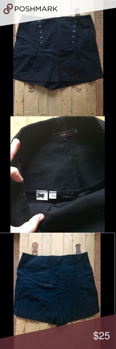 NWOT Urban outfitters LUX Black hi waist shorts 8 NWOT AUTH Urban outfitters LUX BRAND Black high waisted sailor front button shorts USA WMNS SZ 8 $65 100% Authentic Urban outfitters LUX BRAND  Size: WOMENS size 8 (REG) Color: Black Condition:  New without tags, store display; *see photos for specific detail Material:  97% cotton, 3% spandex blend Made in USA Open to all reasonable offers-COMBINED SHIPPING DISCOUNT FOR MULTIPLE ITEMS. All items come from a CLEAN, SMOKE-FREE home Urban…