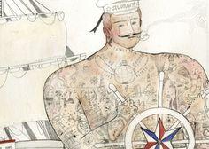 Very interesting...but I like it Sailor Illustration, Tattoo Illustration, Irene, Classic Sailing, Real Mermaids, Cool Tattoos, Awesome Tattoos, Traditional Tattoo, Sea Creatures