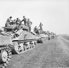 Sherman tanks of 1st Polish Armoured Division assembled for Operation 'Totalise', Normandy, 8 August 1944.