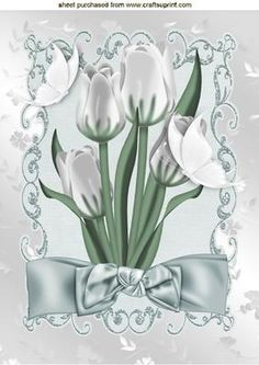 WHITE TULIPS WITH WHITE BUTTERFLIES AND BOW A4 on Craftsuprint - Add To Basket!